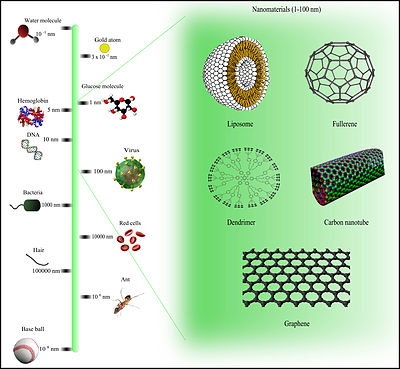 comparison of nanomaterials sizes
