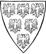 Fig. 454.—Arms of Piers de Gaveston, Earl of Cornwall (d. 1312): Vert, six eagles or.