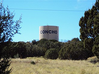Concho, Arizona - West view of the water tower in the Concho Valley area, as seen along SR 61