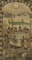Conquista de México (Tabla 1) - Manda Cortés echar los Naos a pique, come con embajadores de Moctezuma, Miguel González & Juan González (1698).png