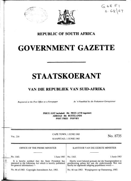File:Copyright Amendment Act 1983 from Government Gazette.djvu