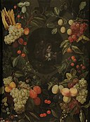 Cornelis van Huynen - Garland of fruits with the Holy Family.jpg
