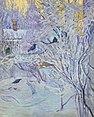 Corner of the House and Bullfinches on the Tree. Winter (Rozanova, 1908).jpg