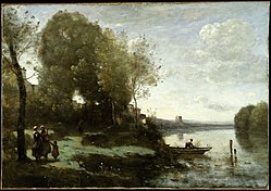 Jean-Baptiste Camille Corot: River with a Distant Tower