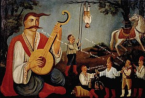 History of the Jews in Ukraine - Cossack Mamay and the Haidamaka hang a Jew by his heels. Ukrainian folk art, 19th century