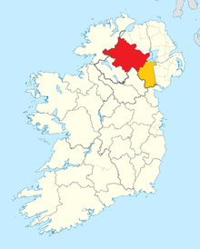 County Armagh and County Tyrone shown within Ireland