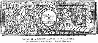 Whaling in the United Kingdom - The carved lid of a whalebone casket, Northumbria, 8th century, British Museum