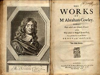 Abraham Cowley - Frontispice and titlepage to a 1678 edition of the collected works of Abraham Cowley