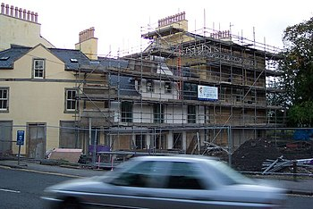 English: Cross scaffolds. The Cross in Beith w...
