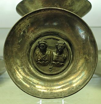 Maia - Mercury and Maia inside a silver cup dedicated by the freedman P. Aelius Eutychus (late 2nd century AD), from a Gallo-Roman religious site