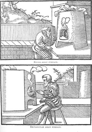 Cupellation -  16th century cupellation furnaces (per Agricola)