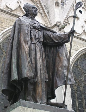Désiré-Joseph Mercier - Mercier is commemorated by this statue outside St. Michael and Gudula Cathedral in Brussels by Égide Rombaux.