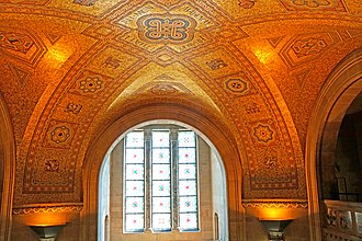 Royal Ontario Museum - The mosaic ceiling of the rotunda is covered predominantly in gold back-painted glass tiles.