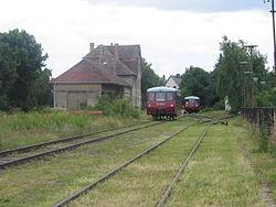 Deutsch: Wiedereröffnung des Schienenpersonenverkehrs am 07.07.2007 nach 46 Jahren in Mühlberg (Elbe) durch den Elbe-Elster-Express mit Ferkeltaxi 171 056English: Reopening of rail transport after 46 years in Mühlberg (Elbe) with the Elbe-Elster-Express at July, 7th 2007