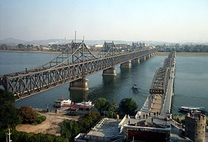 Sino-Korean Friendship Bridge - View from Dandong, China