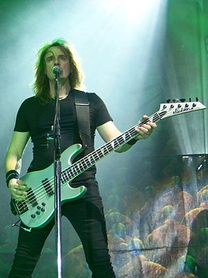 David Ellefson - Dave Ellefson on stage with Megadeth in Kiev, Ukraine 2011, with his signature series Jackson bass
