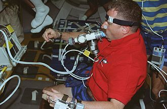 Dafydd Williams - Williams undergoing a pulmonary function test during the Neurolab mission.