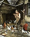 David Col and Eugène Rémy Maes - A man feeding his chickens and doves.jpg