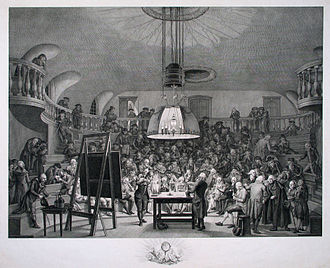 Large electrostatic generator (Teylers) - This 1794 demonstration of a smaller electrostatic generator in Felix Meritis shows the popularity of such devices, though Van Marum's machine was much larger. A copy of this engraving hangs in the Teylers Instrument room near the large electrostatic generator.