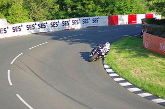 Sulby, Isle of Man - Dean Harrison at Sulby Bridge during TT practice in May 2014