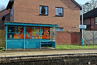 Hawarden railway station - Image: Decorative waiting shelter, Hawarden railway station (geograph 3800242)