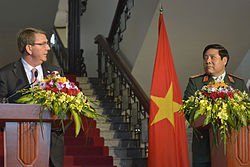 Defense Secretary Ash Carter, left, and Vietnamese Defense Minister General Phung Quang Thanh, hold a press conference in Hanoi, Vietnam, June 1, 2015 150601-D-NI589-381.jpg