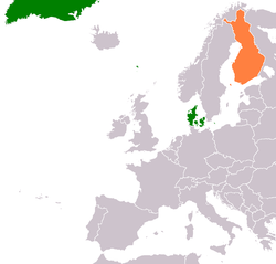 Map indicating locations of Denmark and Finland