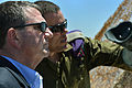 Deputy Secretary of Defense Ashton B. Carter listens as an Israeli soldier highlights points of interest at the Northern Israeli Outpost in Israel on July 22, 2013 130722-M-EV637-474.jpg