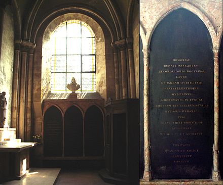 The tomb of Descartes (middle, with detail of the inscription), in the Abbey of Saint-Germain-des-Pres, Paris DescartesAshes.jpg