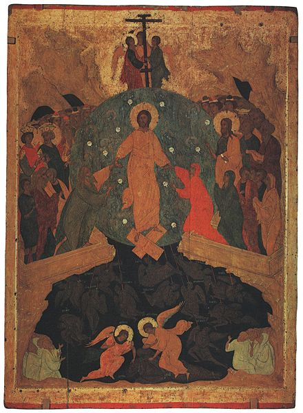 Harrowing of Hades, an icon by Dionisius, from the Ferapontov Monastery. Descent into hell-Russian Museum.jpg