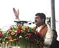Dharmendra Pradhan addressing at the flag-off ceremony of the Khurda Road-Begunia Passenger train, at the newly built section, at Begunia, in Odisha on July 16, 2015.jpg