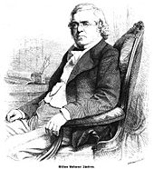 Engraving of Thackery sitting in a chair at his desk