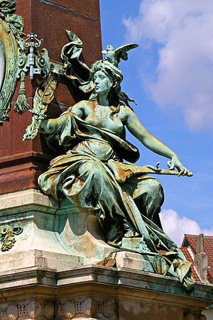 Julien Dillens - Magistrature Communale allegorical figure, Anspach Fountain, Brussels