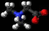 Pilk-kaj-bastona modelo de la dimetilglicinmolekulo kiel Ambaŭ-jono