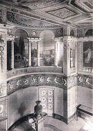 Palacio de La Moncloa before the Spanish Civil War - Tribune of music in the Dining room of Palacio de La Moncloa before the Spanish Civil War (photo taken in 1920).