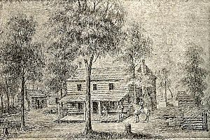 Wood County, West Virginia - First courthouse in Wood County (ca. 1802), sketch by Joseph H. Diss Debar.