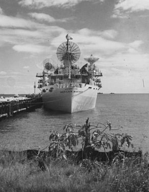 Tracking ship - U.S. Army tracking ship (1958-1964) USAS American Mariner docked at Chaguaramus, Trinidad