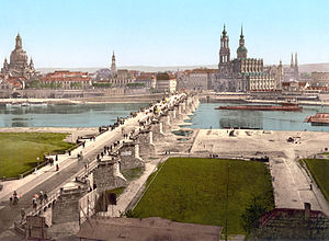 Bombing of Dresden in World War II - Image of Dresden during the 1890s. Landmarks include Dresden Frauenkirche, Augustus Bridge, and the Katholische Hofkirche.