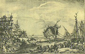 Ceremonial ship launching - The side launch of Duc de Bourgogne at Rochefort on 20 October 1751.
