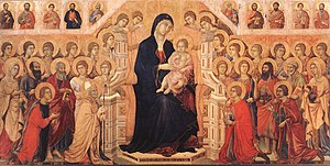 Maestà - The central panel of Duccio's Maestà with Twenty Angels and Nineteen Saints (1308–1311), Museo dell'Opera del Duomo, Siena.