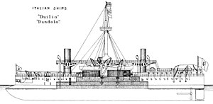 Duilio class ironclad left elevation Brasseys 1888.jpg