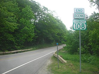 "Vermont Route 108 - ""End VT 108 Scenic"" assembly on VT 108 southbound south of Smugglers Notch"