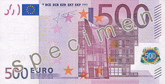 500 euro note - Image: EUR 500 obverse (2002 issue)