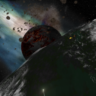 Hadean - Earth and the Moon during a later period (artist concept).