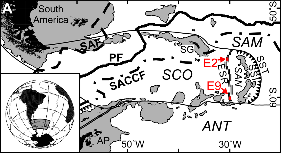 East Scotia Ridge vents map
