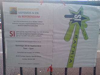 2008 Ecuadorian constitutional referendum - Poster aimed at the Ecuadorian diaspora in London