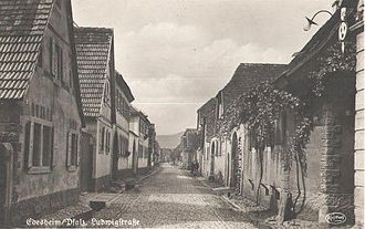 Baron d'Holbach - Insight into the Ludwigstrasse in Edesheim (Rhineland-Palatinate). The birthplace of Paul Henri Thiry d'Holbach was in the house n° 4. Old picture postcard from 1940.