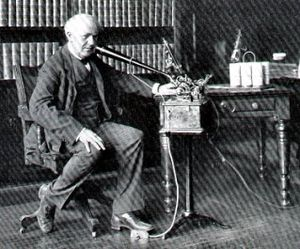 Dictation machine - Thomas A. Edison dictating in 1907.