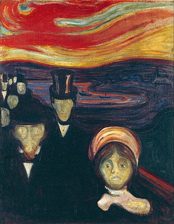 Painting entitled Anxiety, 1894, by Edvard Munch Edvard Munch - Anxiety - Google Art Project.jpg