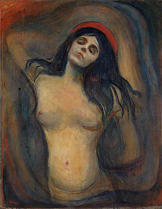 Madonna (Munch painting) - Version from National Gallery of Norway, Oslo. 1894–95. 91 cm × 70.5 cm (36 in × 27.8 in).